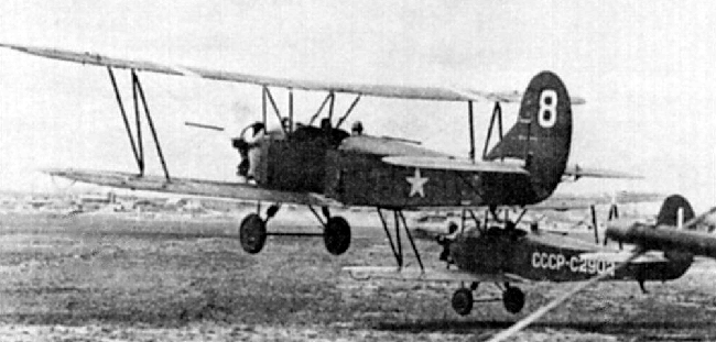The PO-2, an open cockpit bi-plane flown by the Night Witches
